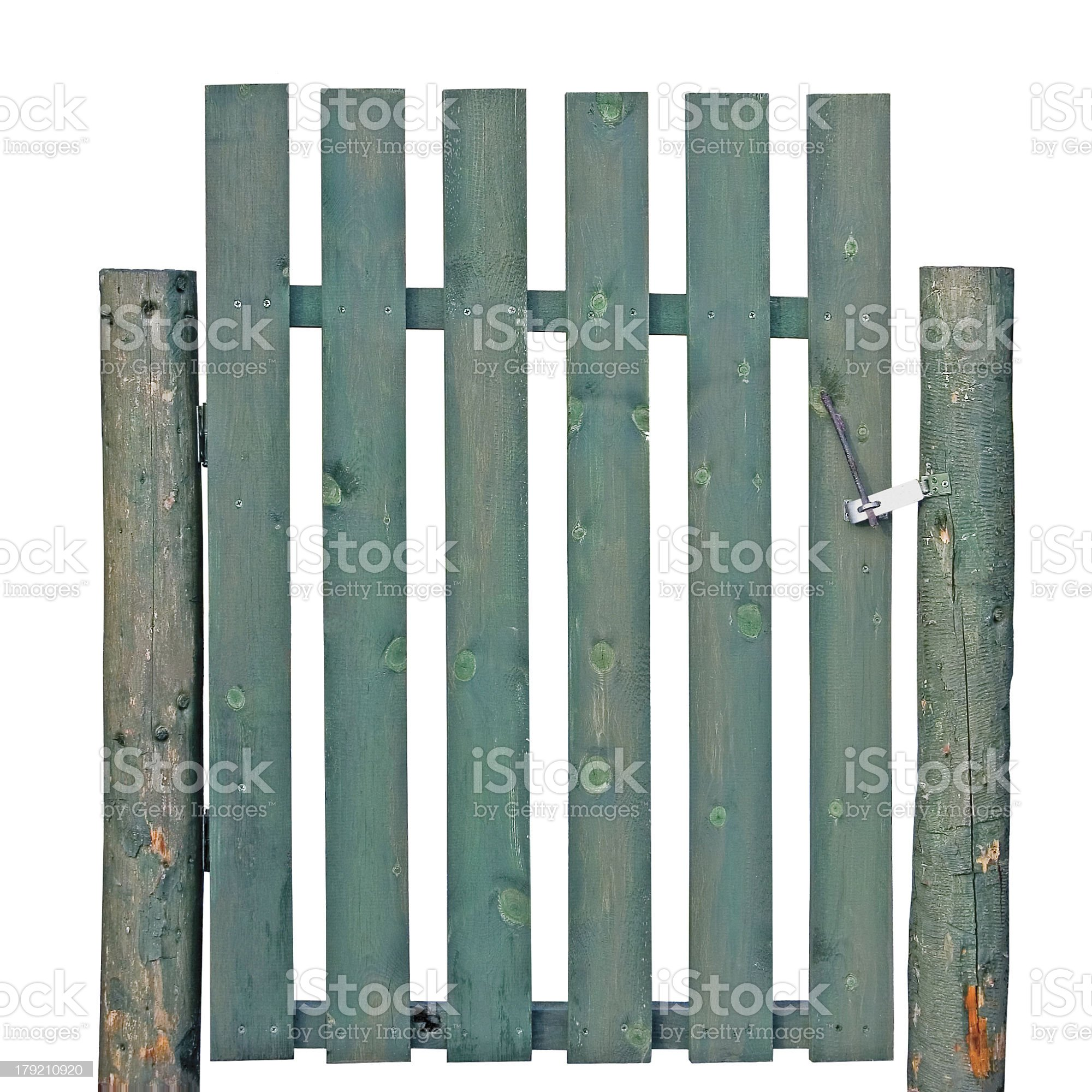 Wooden Gate, Aged Green Weathered Isolated Garden Fence Entrance royalty-free stock photo