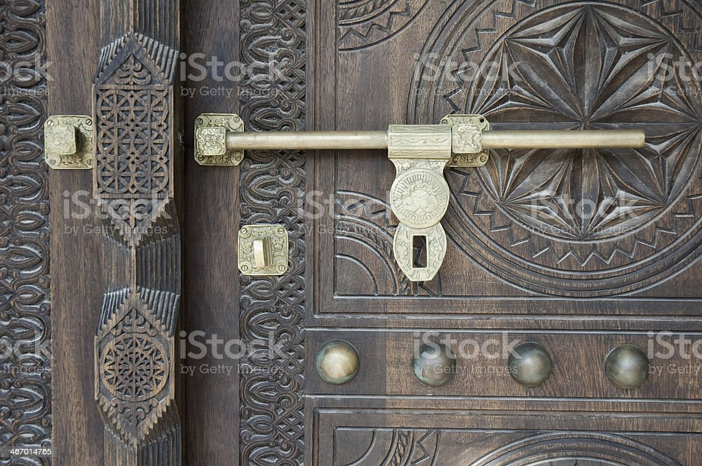 Wooden Gate & Copper stock photo
