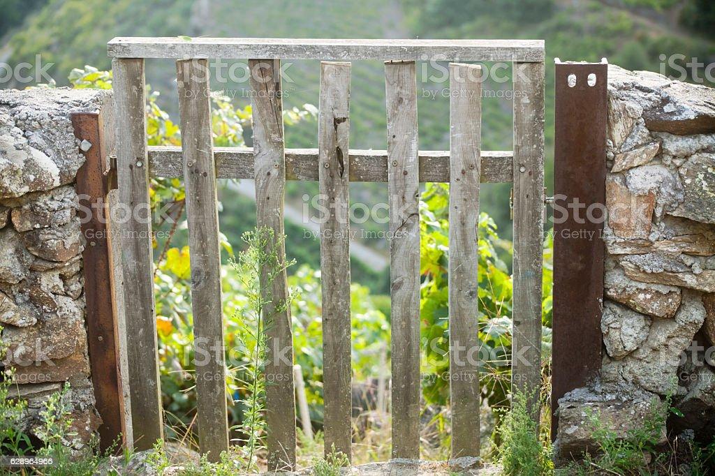 Wooden gate, stone wall and vineyard in Ribeira Sacra, Galicia. stock photo