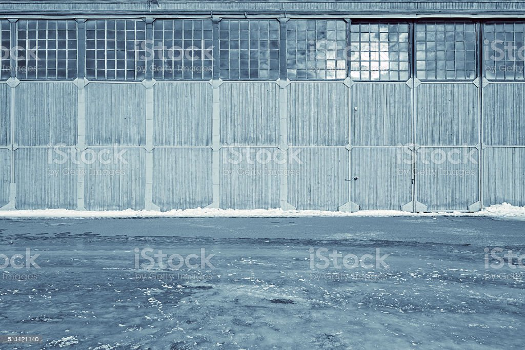 Wooden gates of the garage. stock photo