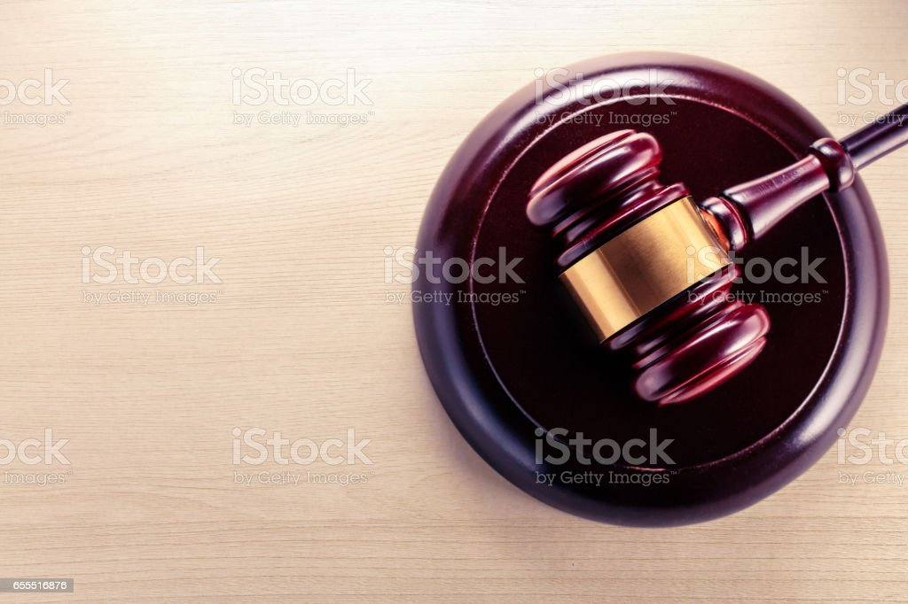 Wooden gavel and block stock photo