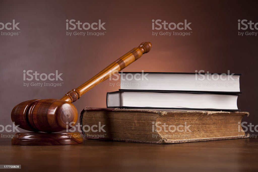 Wooden gavel and justice stuff royalty-free stock photo