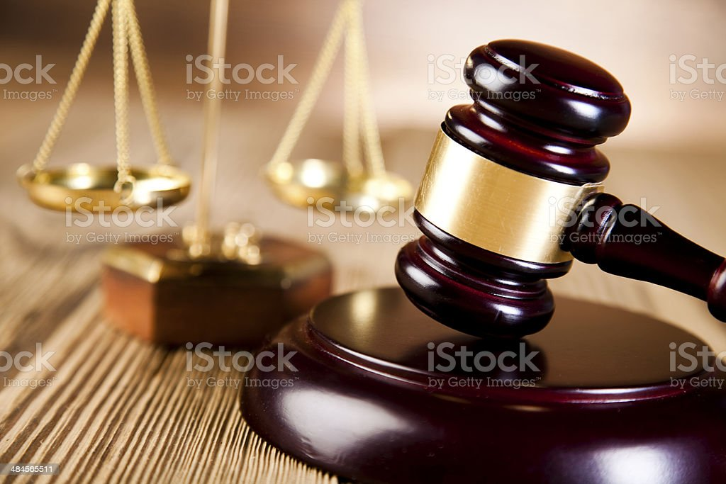 Wooden gavel barrister, justice concept, legal system stock photo