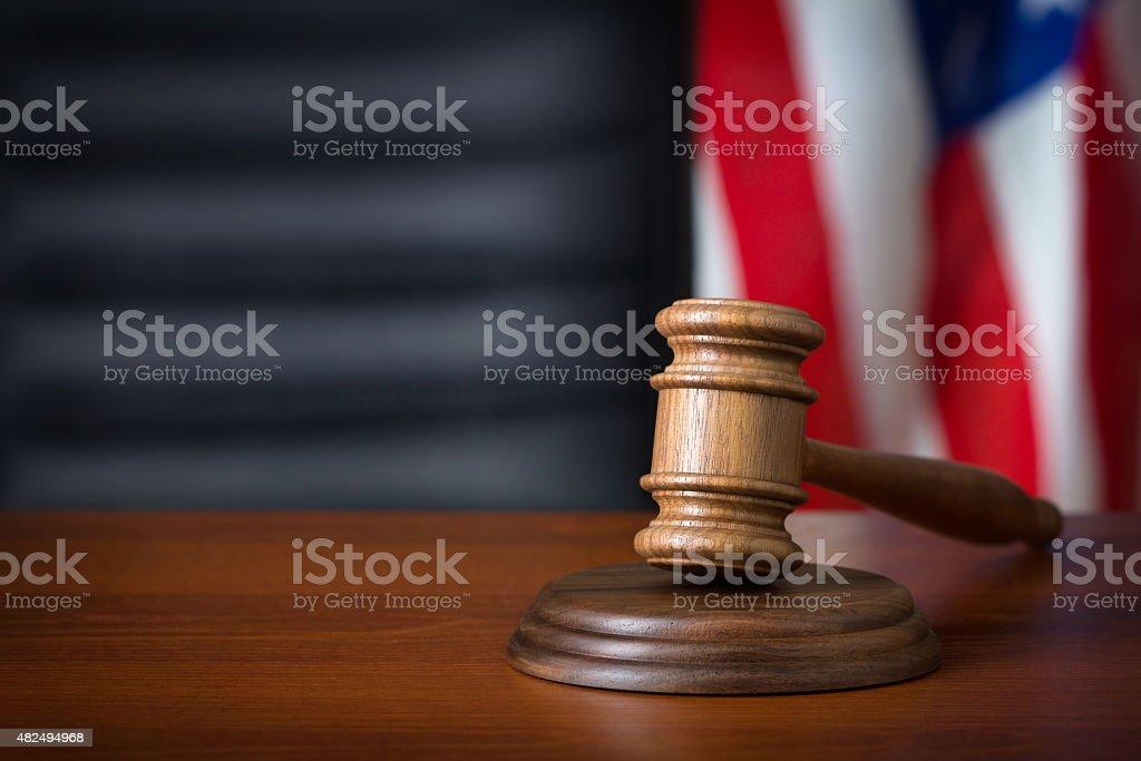 Wooden gavel stock photo