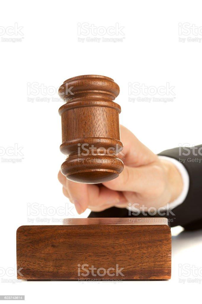 wooden gavel white stock photo