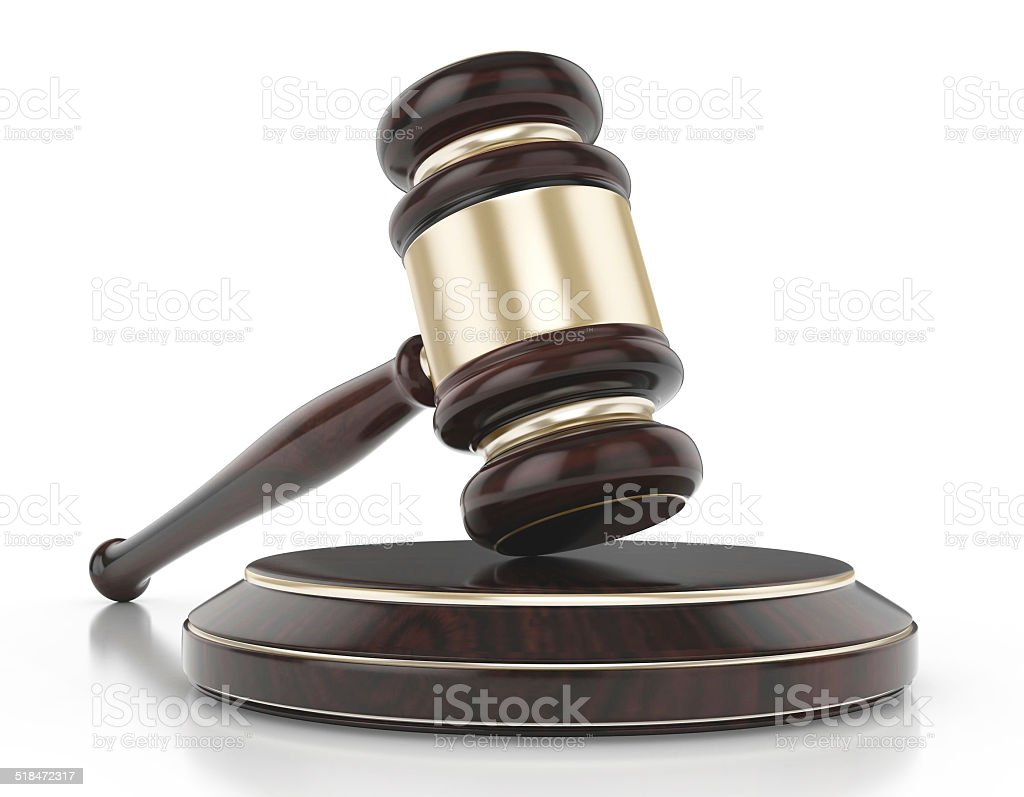 Wooden gavel with books stock photo