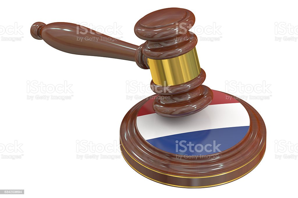 Wooden Gavel with Netherlands, 3D rendering stock photo