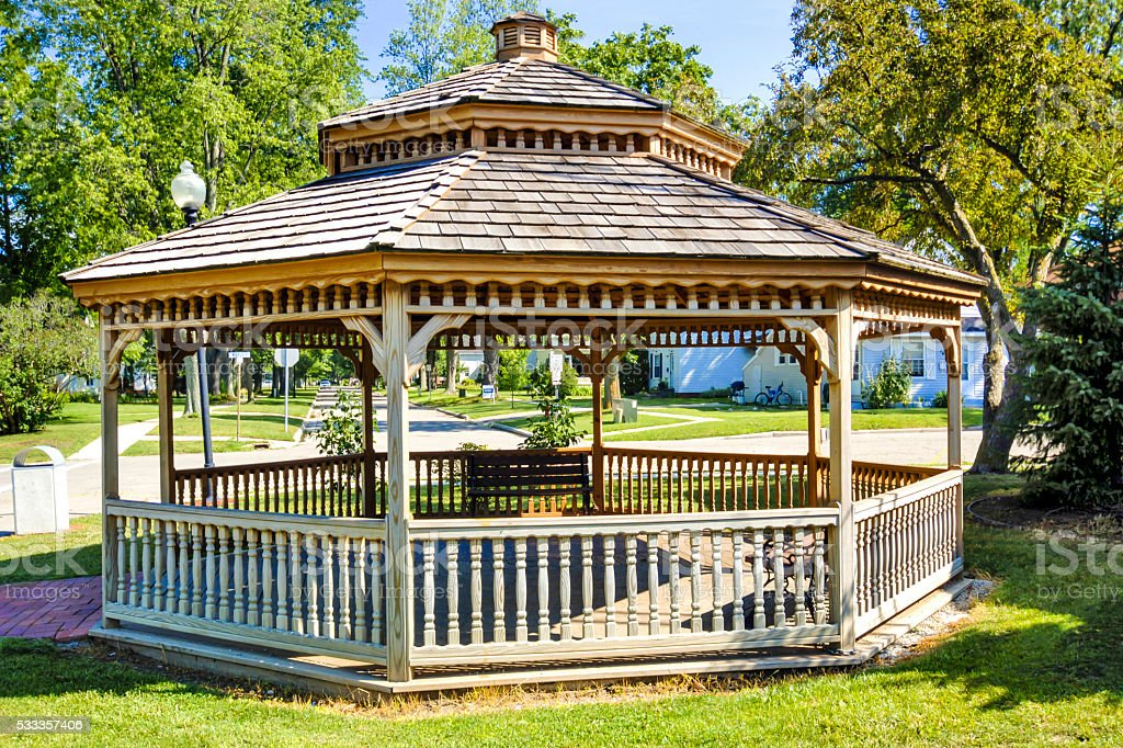 Wooden Gazebo in the park at Crosswell, MI stock photo
