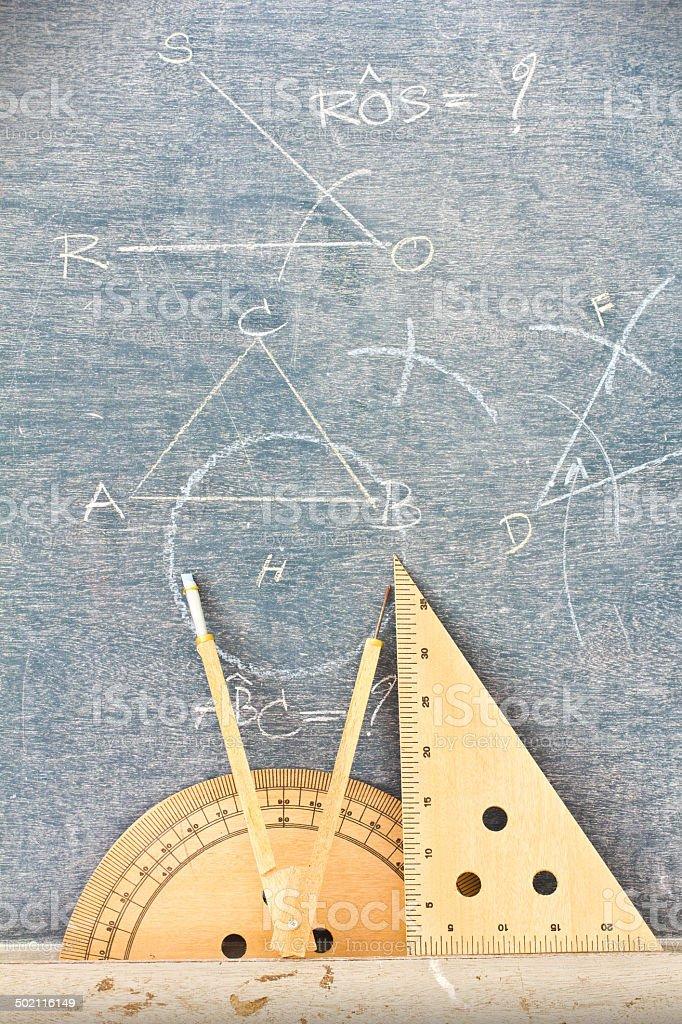 Wooden geometry tools. stock photo