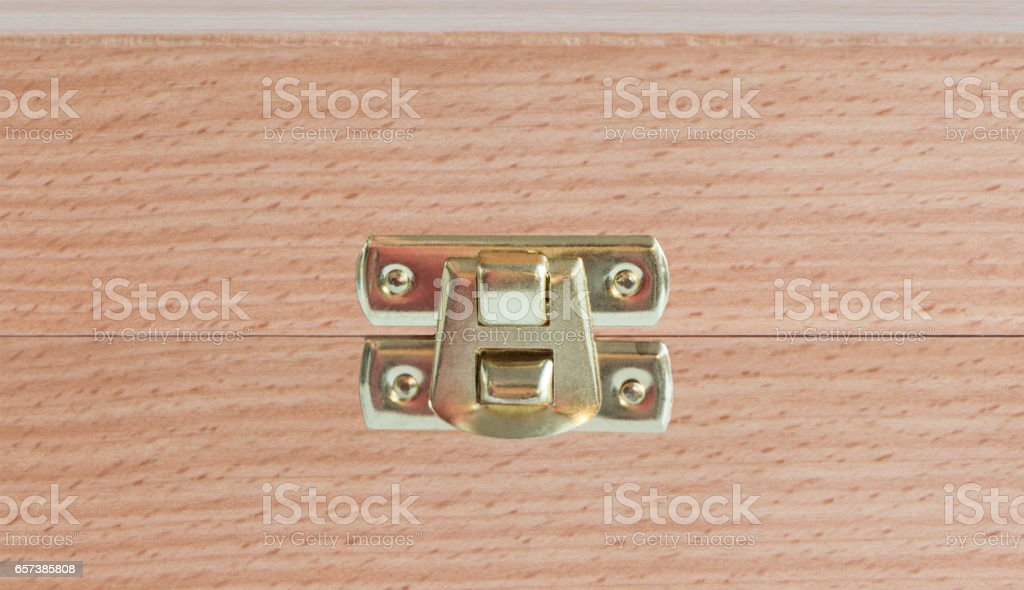 Wooden gift box for wine, closeup stock photo