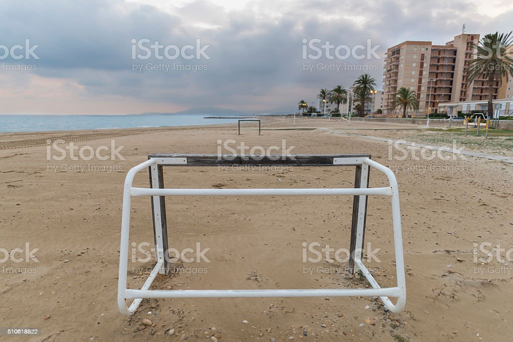 Wooden goals. stock photo