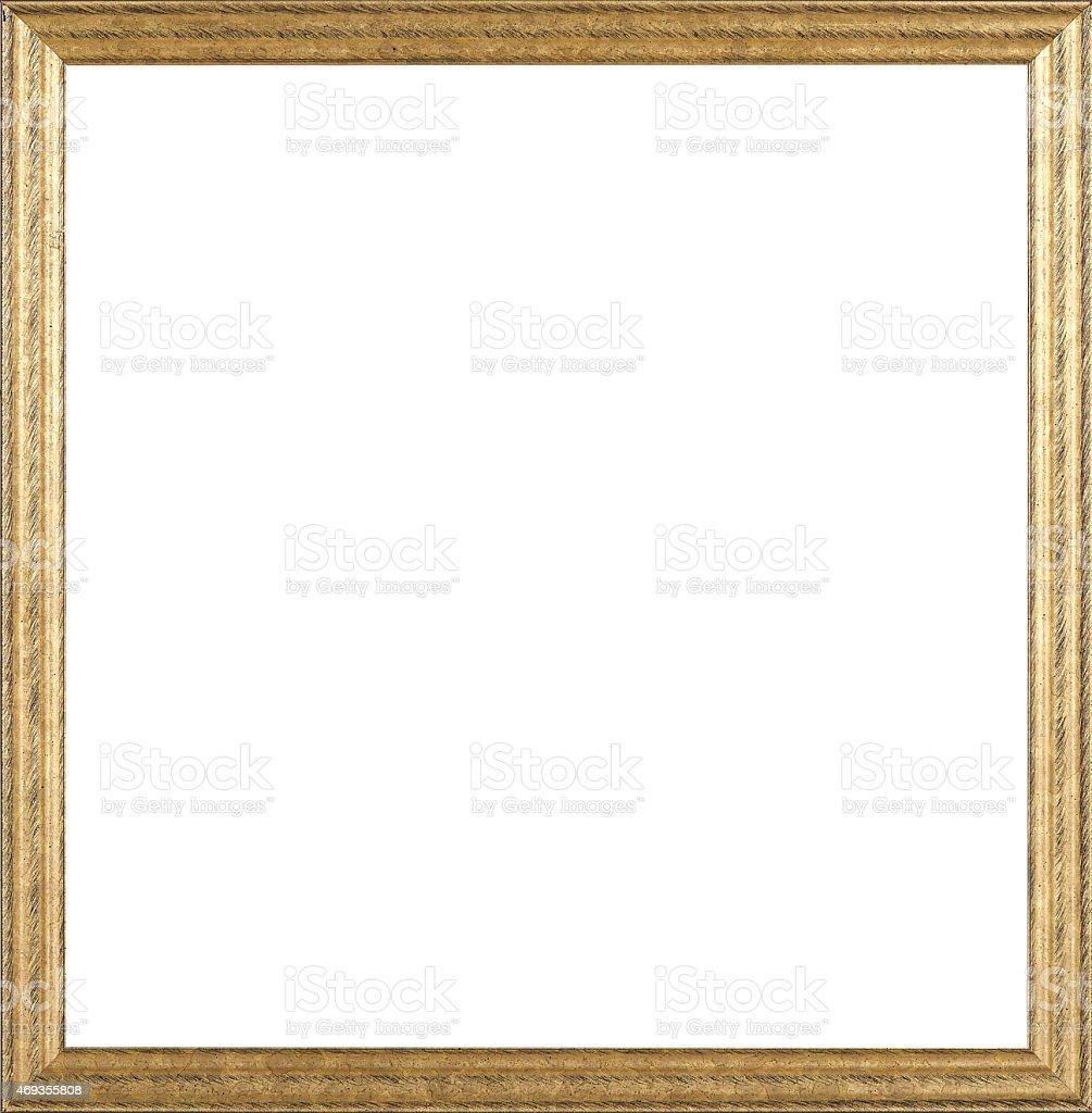 Wooden golden frame mockup on white background stock photo