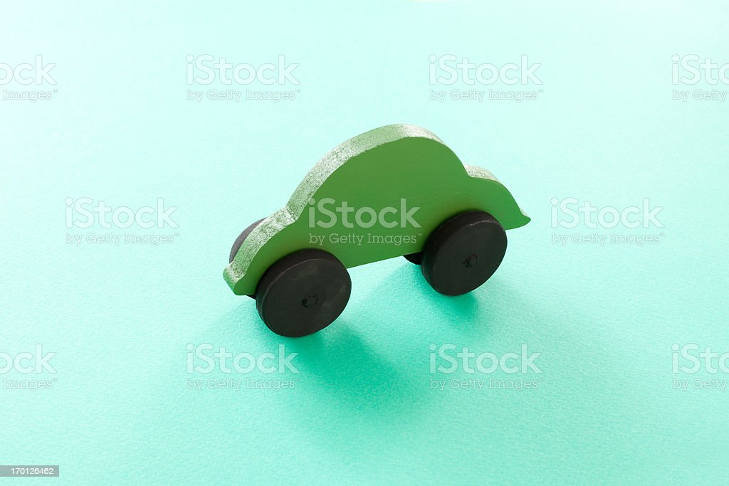Wooden green car royalty-free stock photo