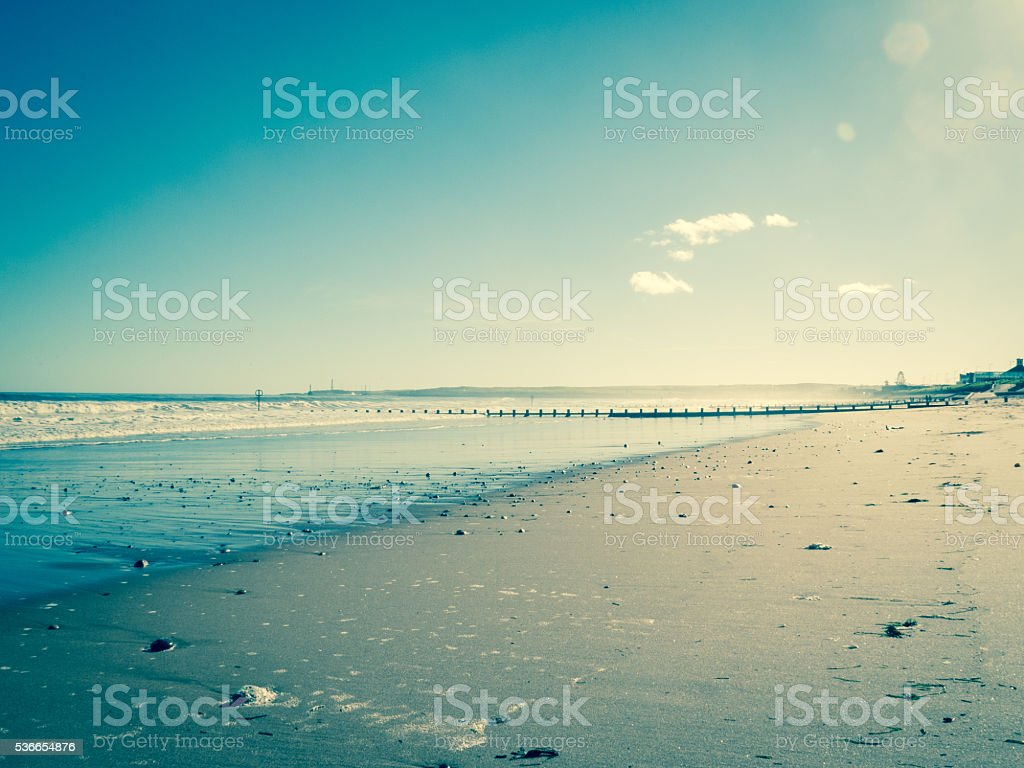 Wooden Groynes on Sand in North Sea Aberdeen UK stock photo