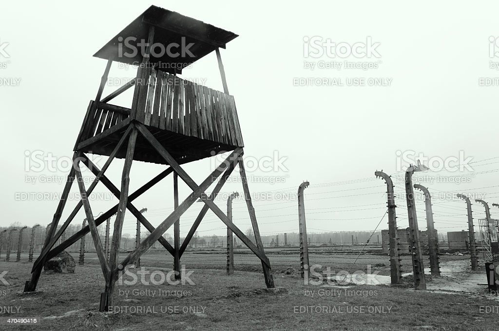 Wooden guard tower at the Auschwitz concentration camp in Poland. stock photo