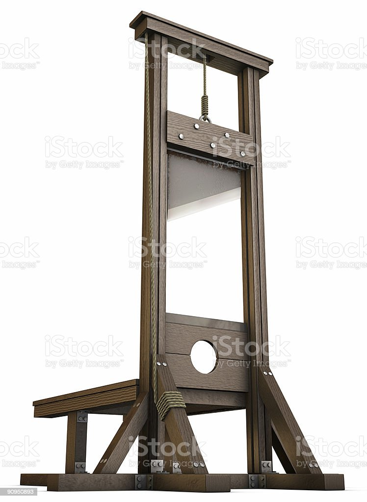 Wooden guillotine on white background stock photo