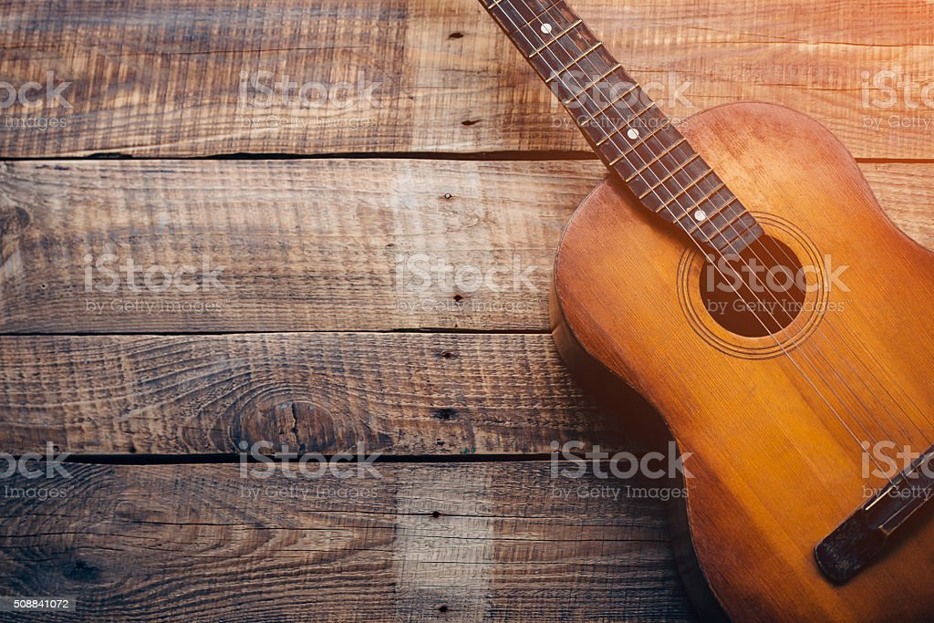 Wooden guitar. stock photo