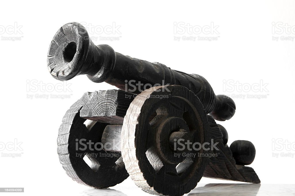 Wooden gun carriage stock photo