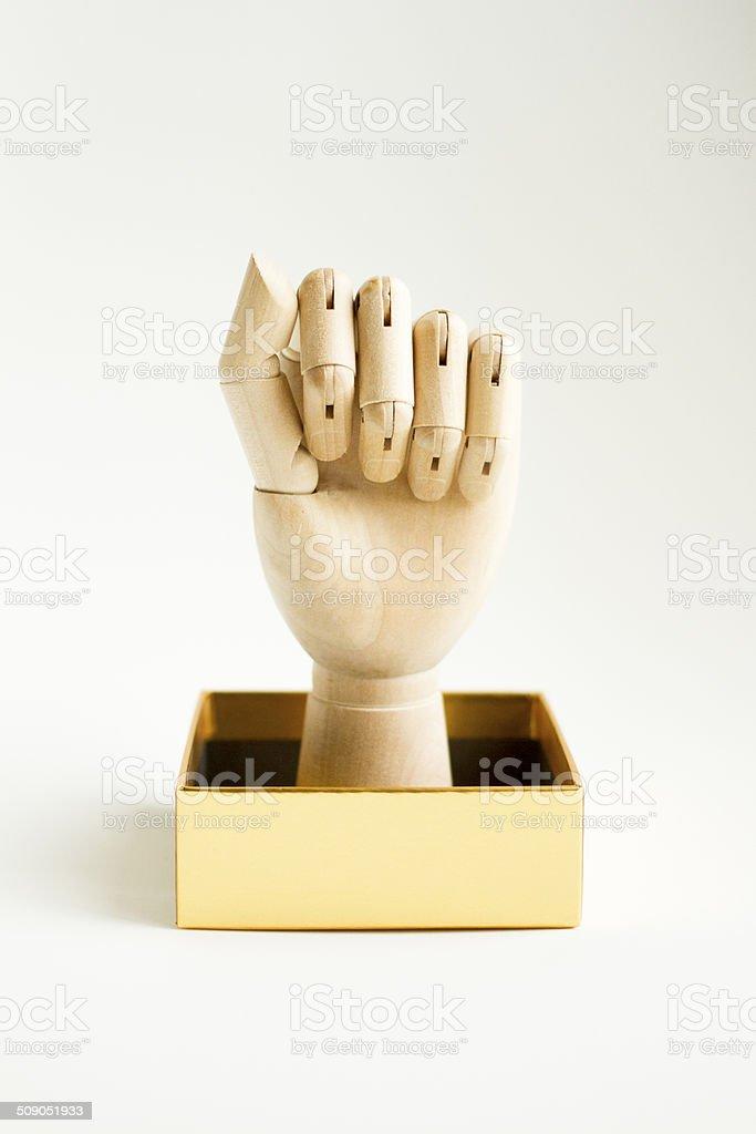 wooden hand box 2 stock photo