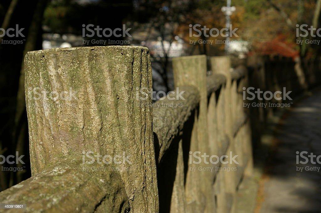 Wooden hand rail stock photo