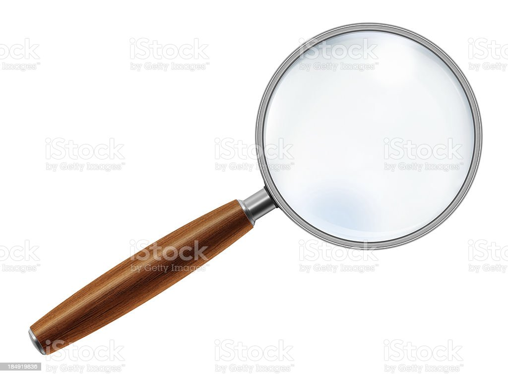 Wooden Handle Magnifying Glass stock photo