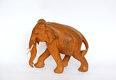 Wooden handmade elephant statue isolated on white