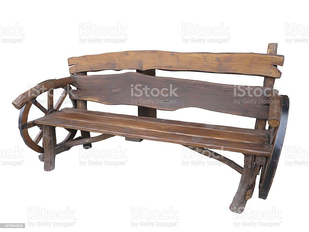 Artesanal de madeira banco de jardim com Carrinho de roda Enfeite isolado foto de stock royalty-free