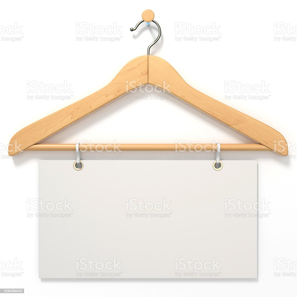 Wooden hanger with blank tag. 3D stock photo