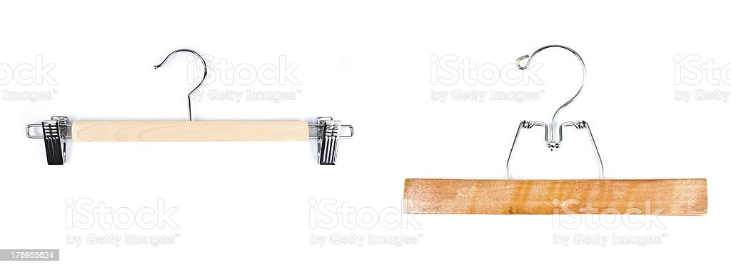 Wooden Hangers Isolated on White stock photo