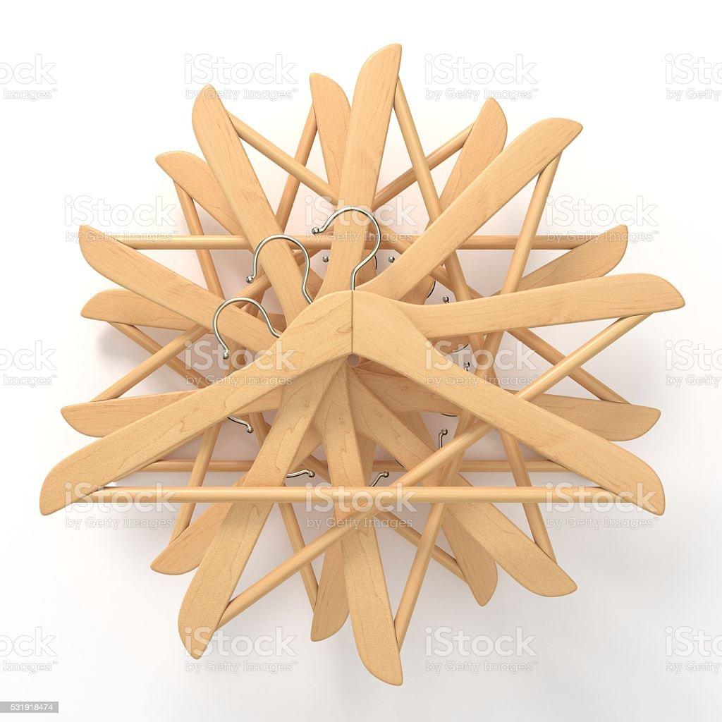 Wooden hangers, star arranged. 3D stock photo