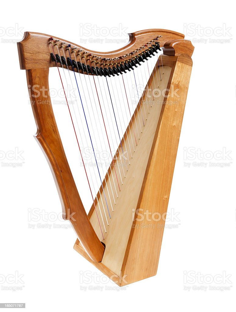 Wooden harp on white background stock photo