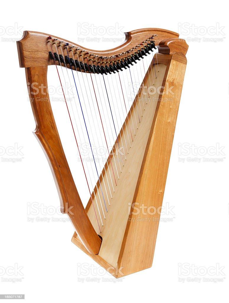 Wooden harp on white background stock photo