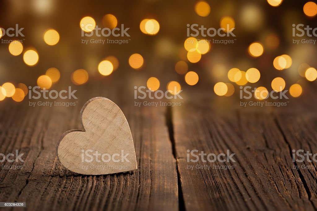 Wooden Heart - Voucher stock photo