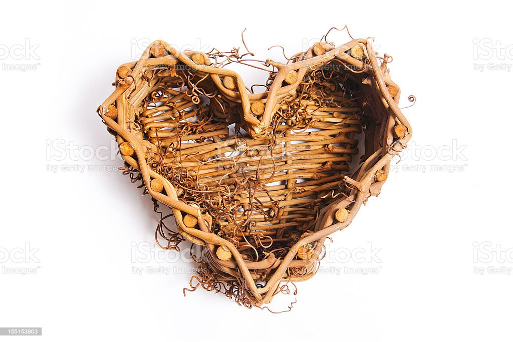 Wooden heart-shaped basket royalty-free stock photo