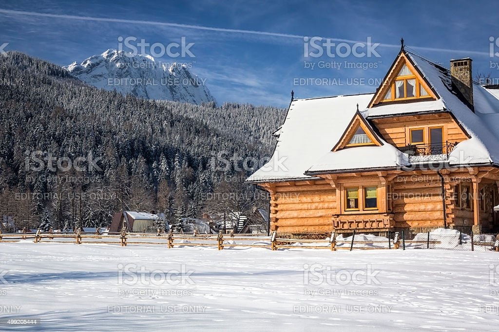 Wooden holiday villa in the Mountains stock photo