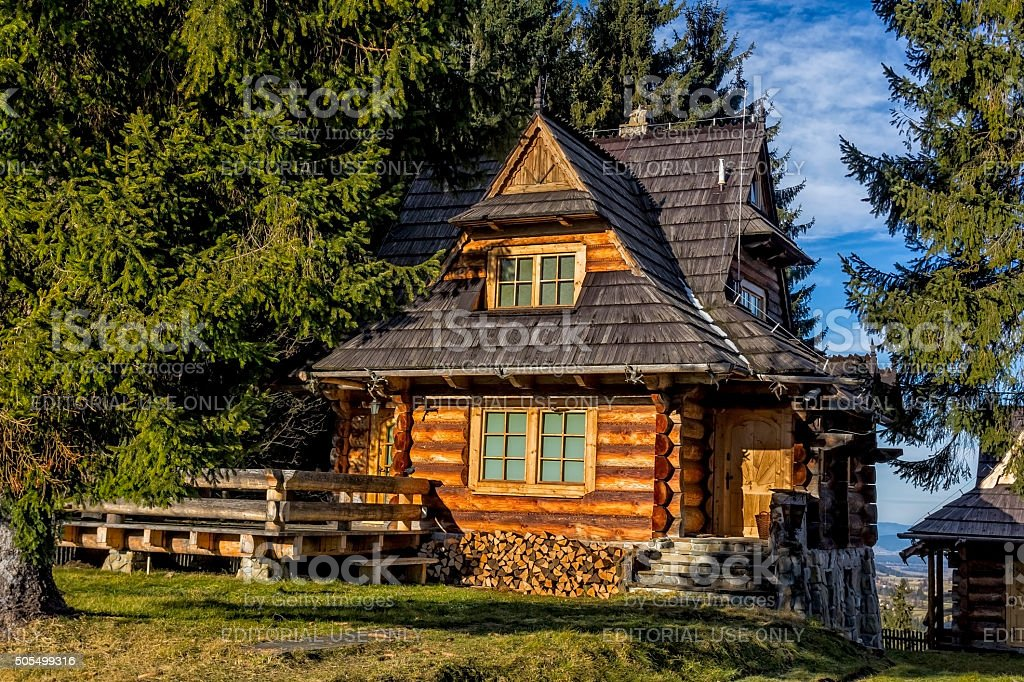 Wooden holiday villa in the Tatra Mountains stock photo