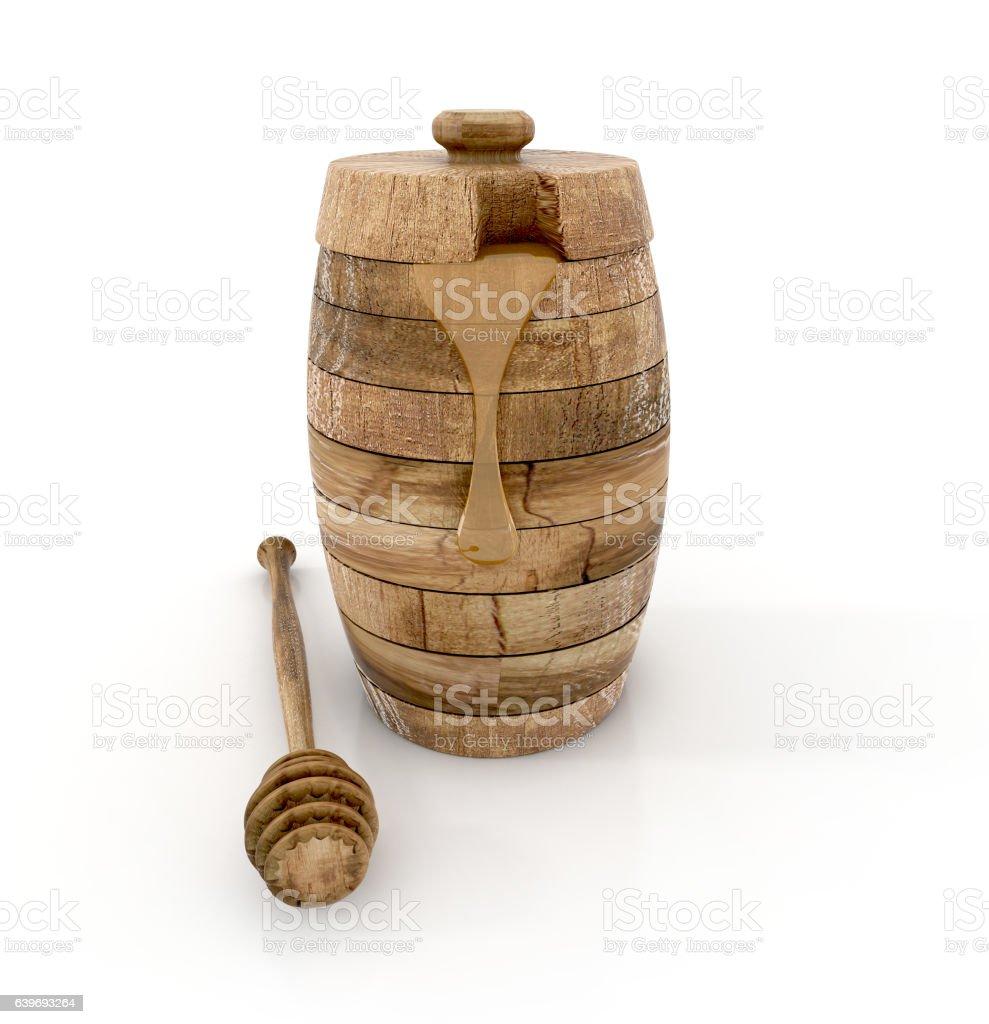 wooden honey jar isolated on white. stock photo