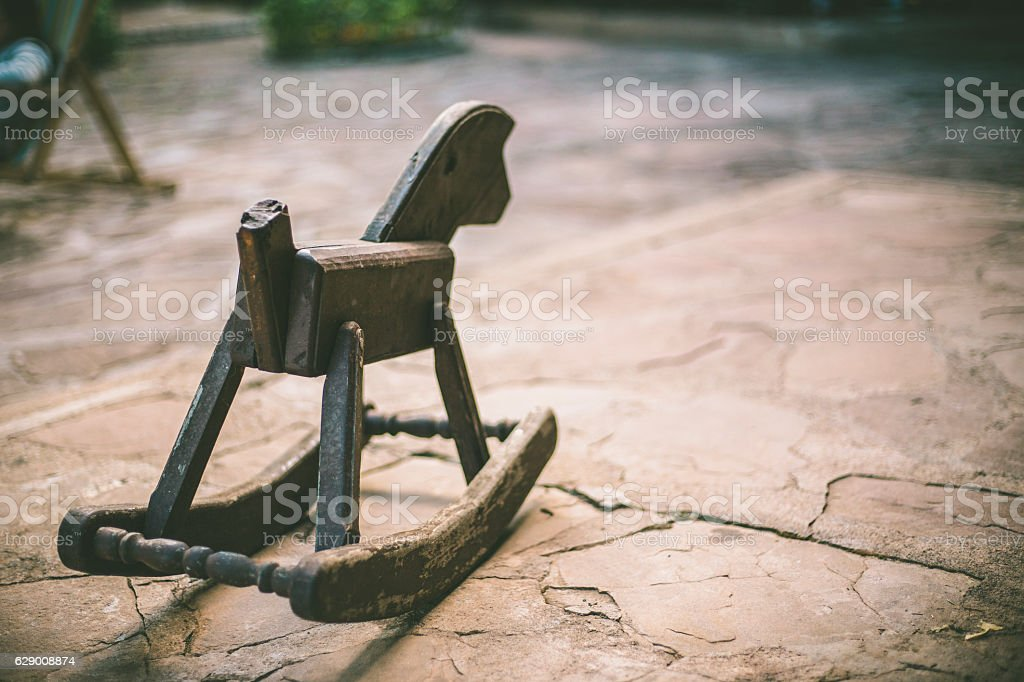 wooden horse on the floor stock photo
