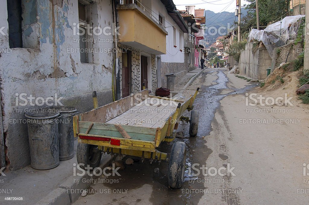Wooden Horsedrawn Cart in Alley, Gotse Delchev, Bulgaria stock photo