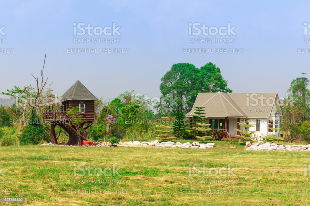 KORAT , THAILAND - MARCH 22, 2017 : Wooden house at Korat province in Thailand . It look like house on tree stock photo