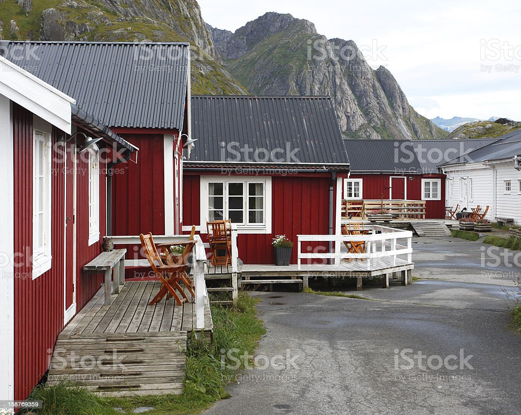 wooden house at the Lofoten archipelago royalty-free stock photo