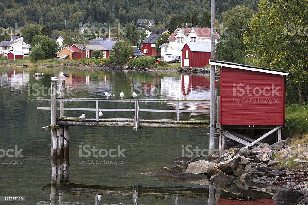 wooden house at the Lofoten archipelago royalty-free stock photo