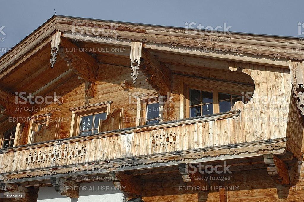 Wooden house balcony stock photo