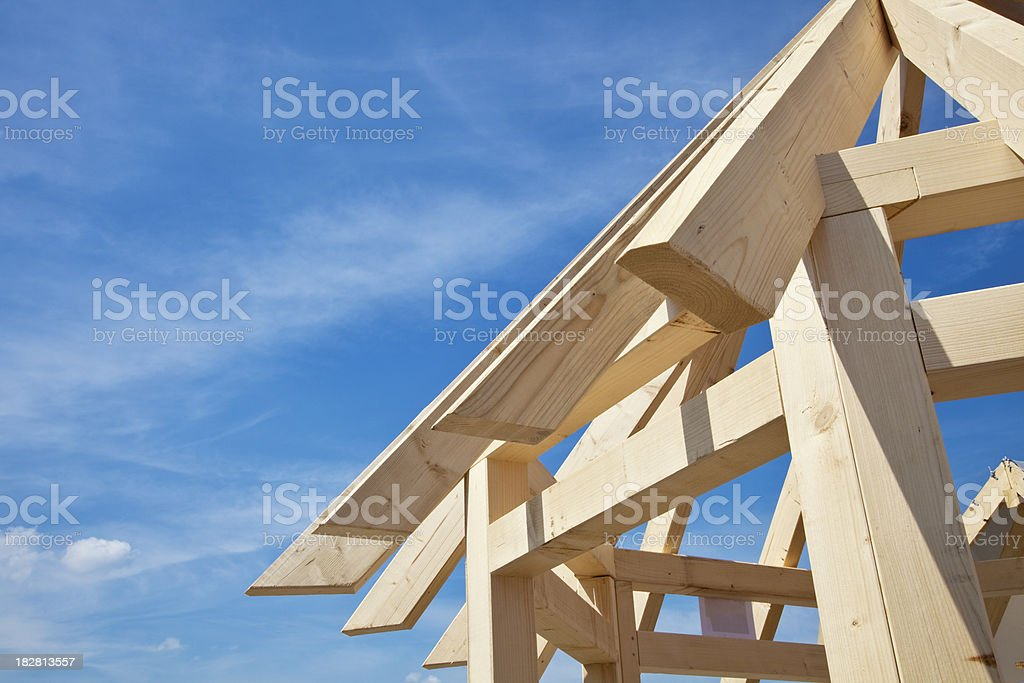 wooden house frame royalty-free stock photo