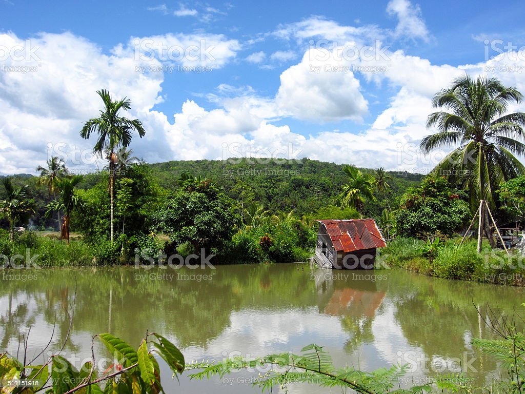 wooden house in a mountain lake stock photo