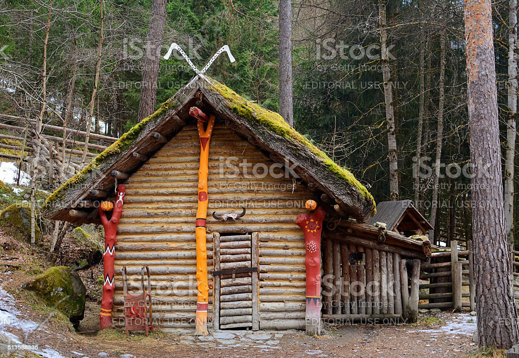 Wooden house in museum in the open air, Umhausen, Austria stock photo