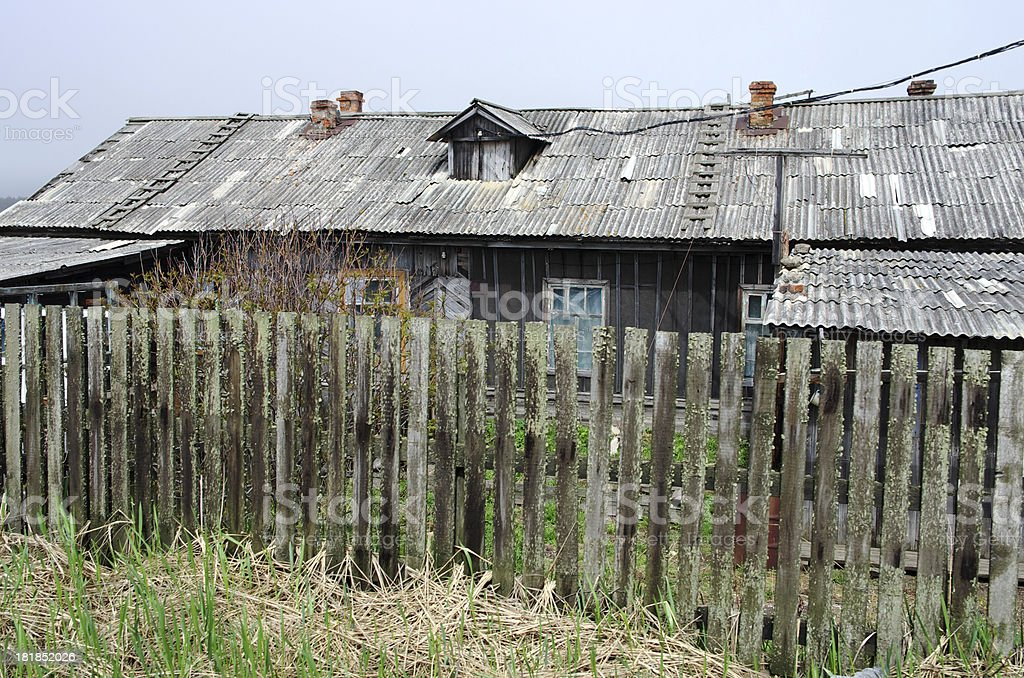 Wooden house in the village royalty-free stock photo