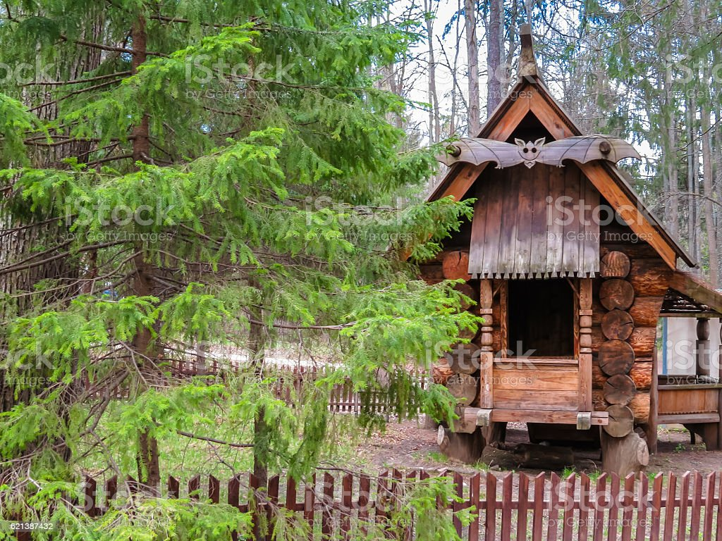 Wooden house on the forest stock photo