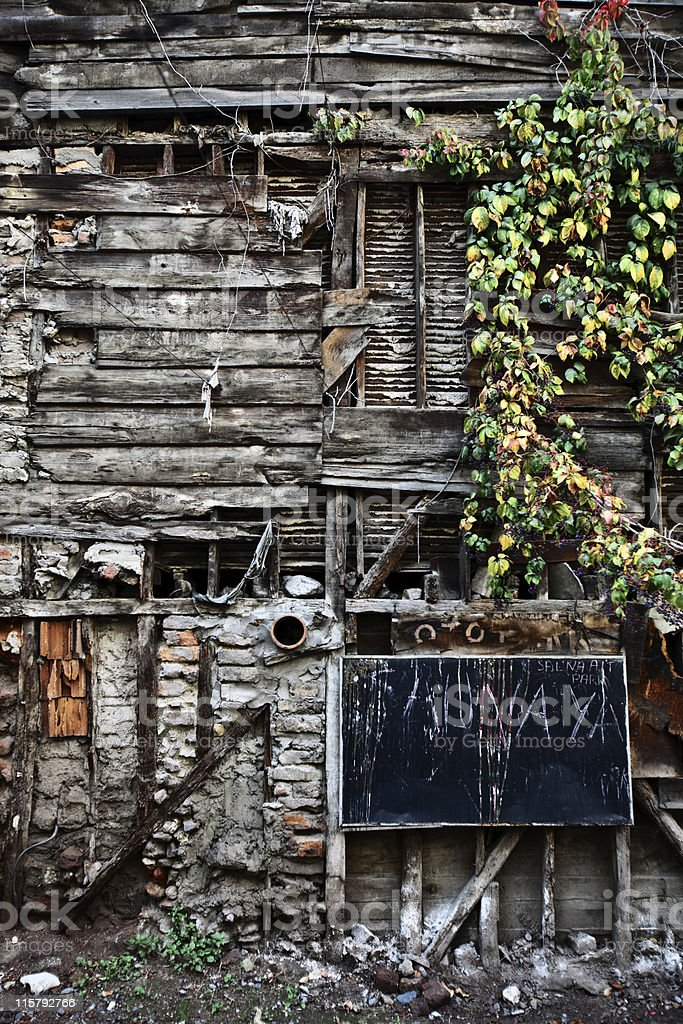 wooden house wall stock photo