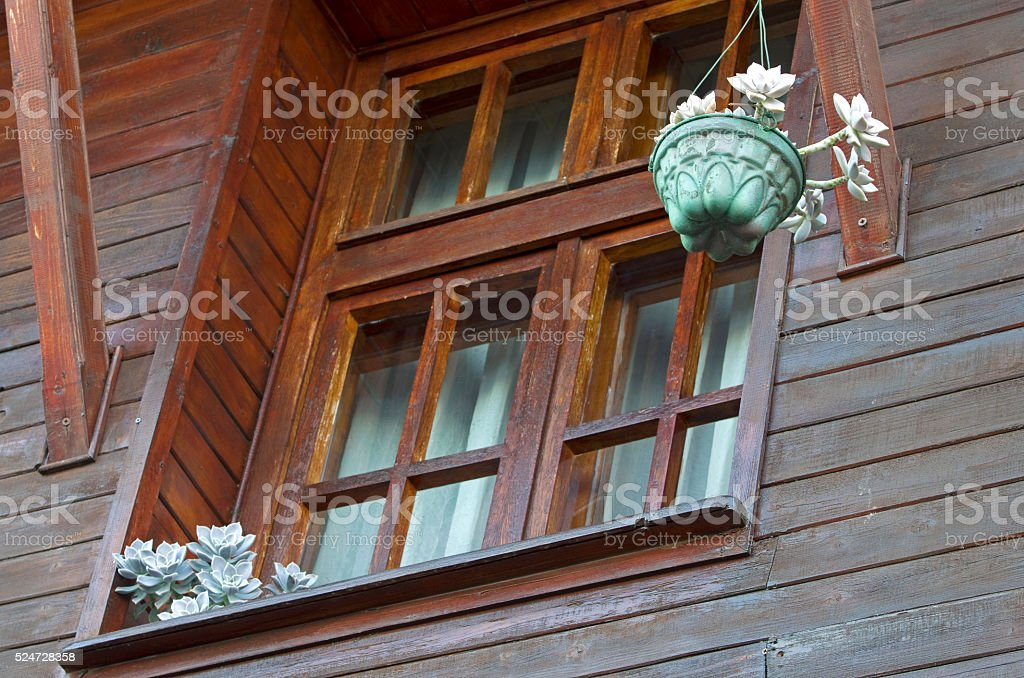 Wooden house window royalty-free stock photo